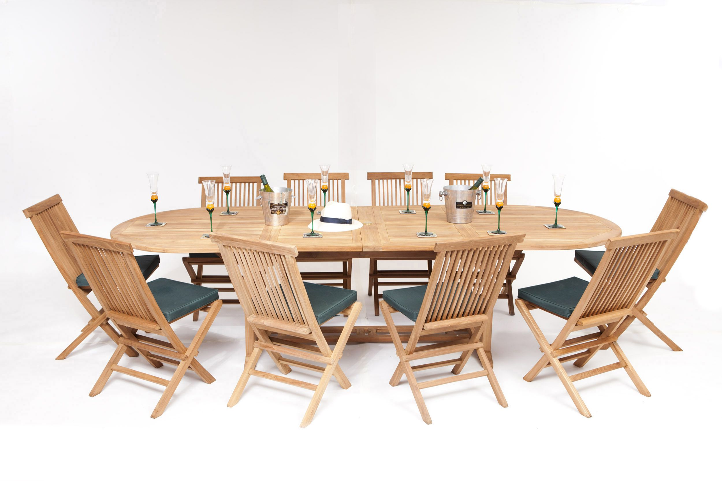 Monaco Teak Garden 10 Seater Table Chairs Set
