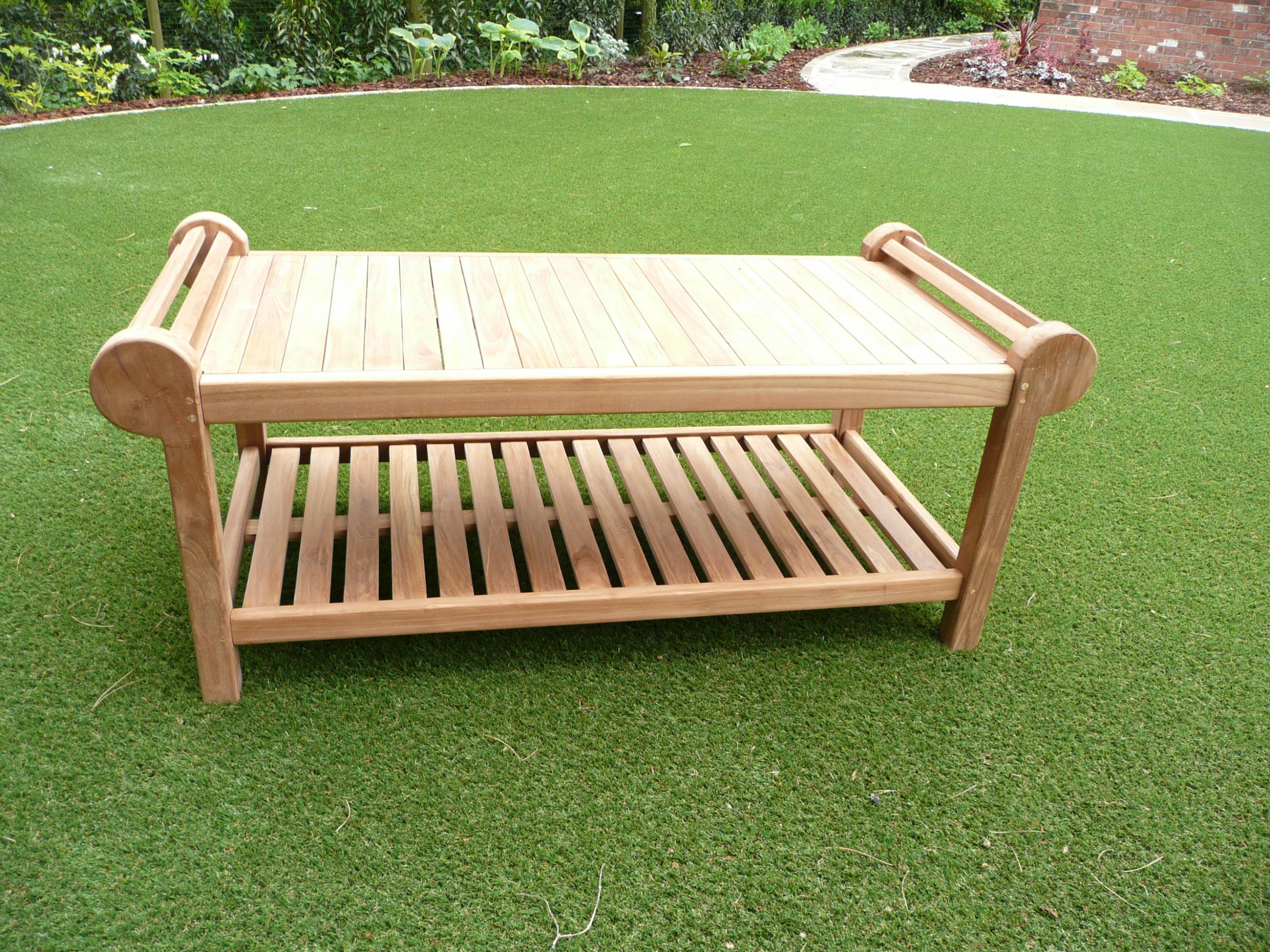 Lutyens 3 seater teak garden coffee table humber imports Lutyens bench