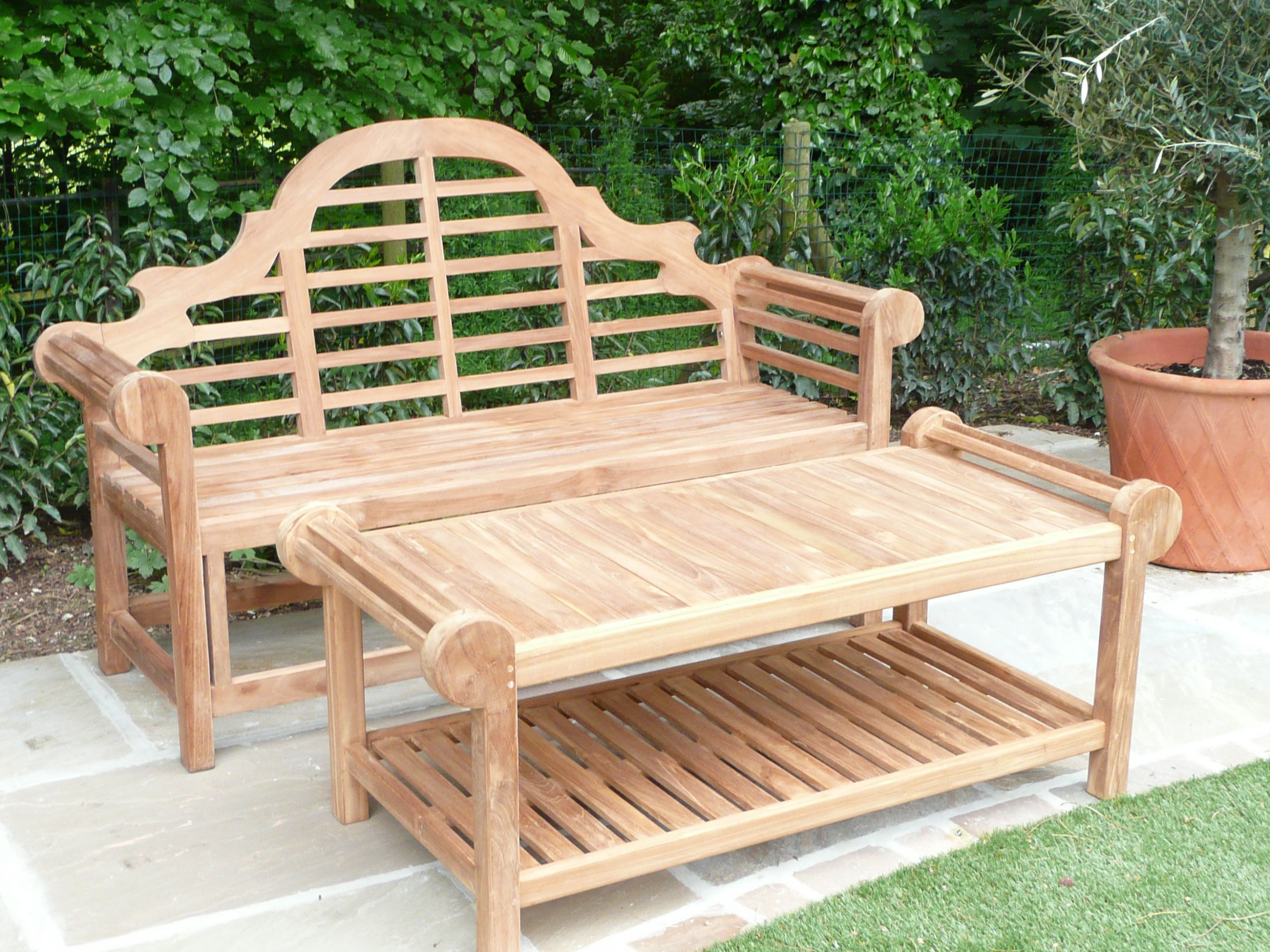 Lutyens Teak Bench & Coffee Table Humber Imports UK