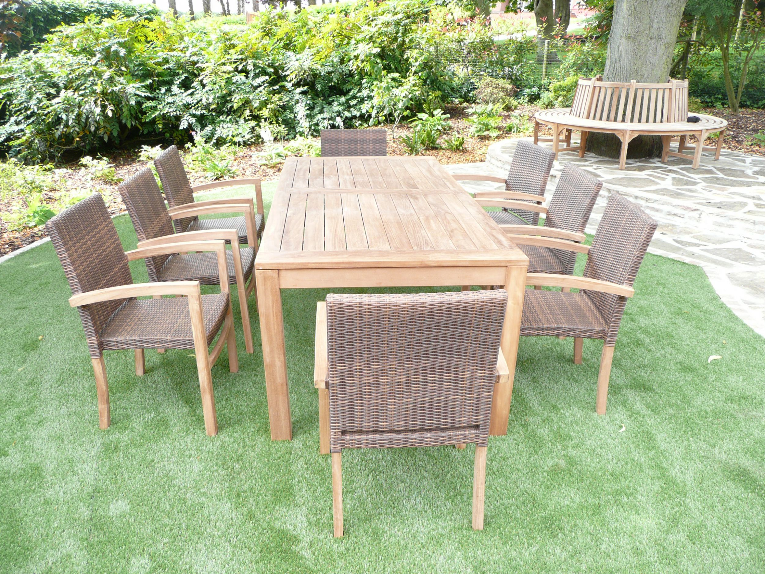 Cannes 8 seater teak rattan patio set humber imports for Teak outdoor furniture