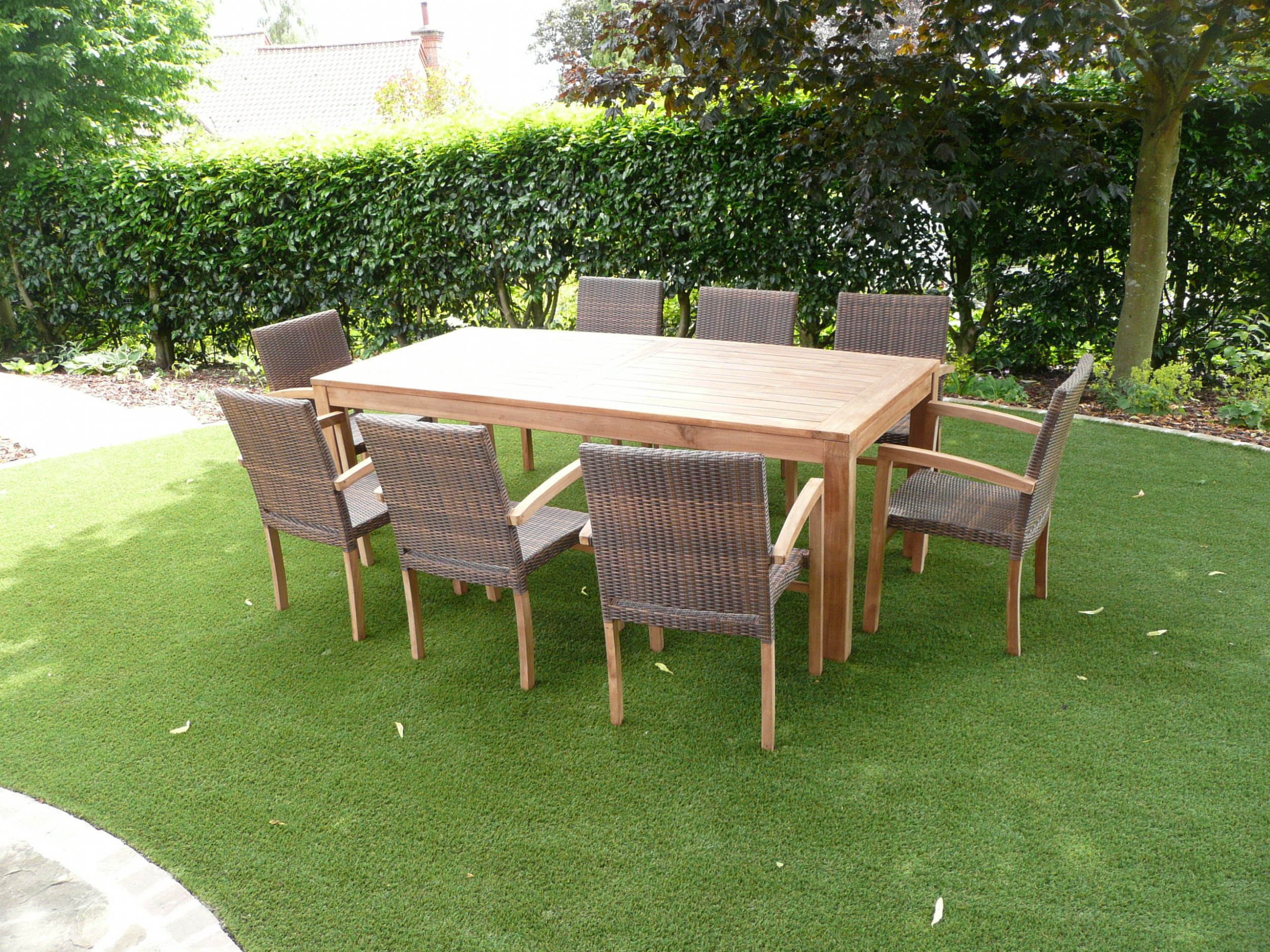 Cannes 8 Seater Teak Amp Rattan Patio Set Humber Imports