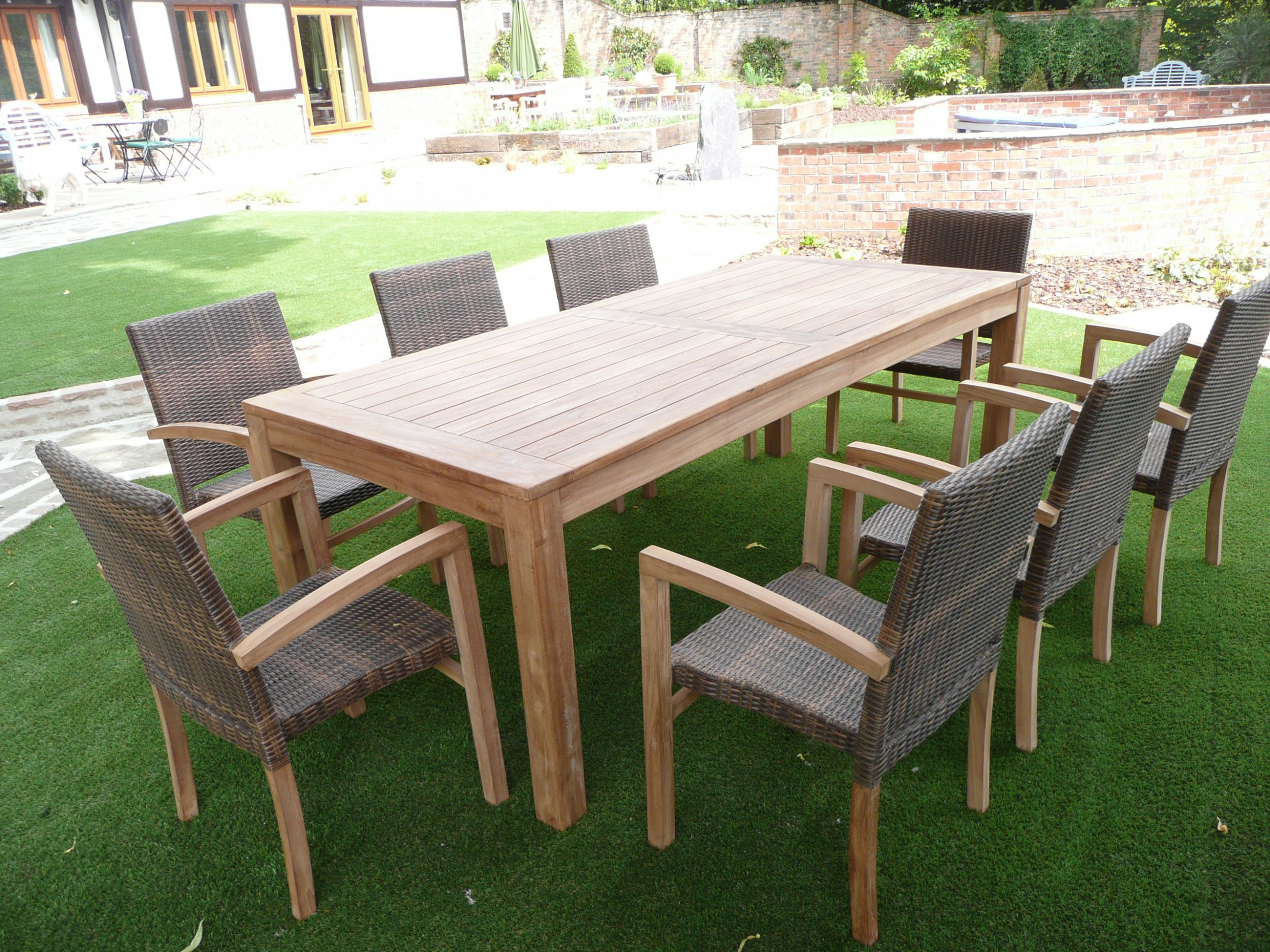 Cannes 8 seater teak rattan patio set humber imports for Outdoor garden furniture