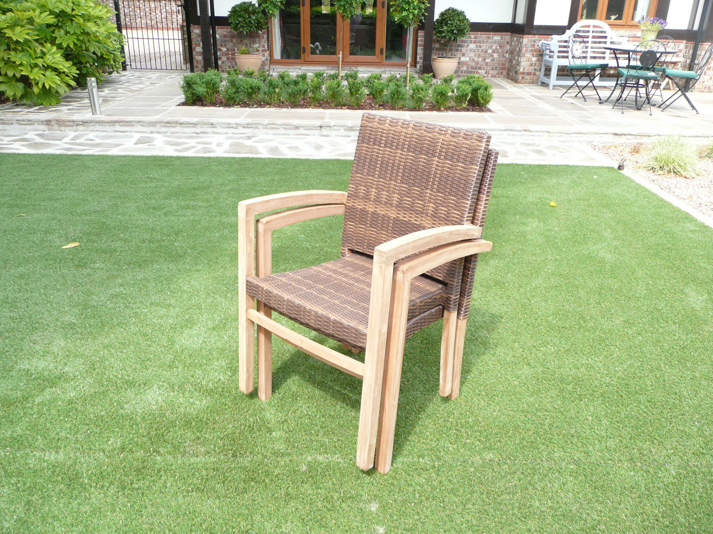 The Cannes 8 Seater Teak And Rattan Modern Chunky Set