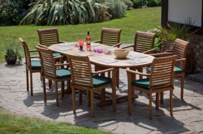 Monte Carlo Oval Teak Garden Furniture Set