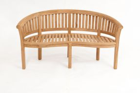 Teak Banana Bench Round Back Rail