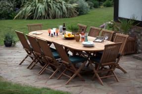 Monaco Teak Garden Oval Table & Chairs Set