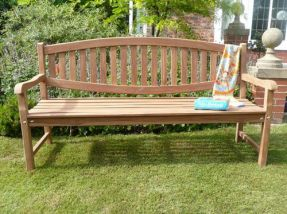 Windsor Curved Back Teak Bench