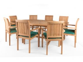 Sunburst 8 Seater Teak Garden Furniture Set