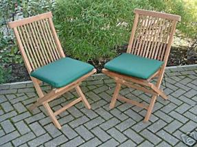 2 Solid Teak Folding Garden Chairs