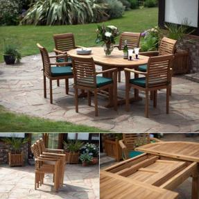 Paris Oval Teak Garden Furniture Set