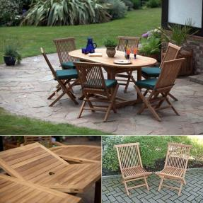 Nice Oval Teak Garden Furniture Set
