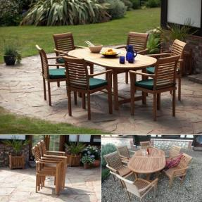 Syracruse Oval Teak Garden Furniture Set