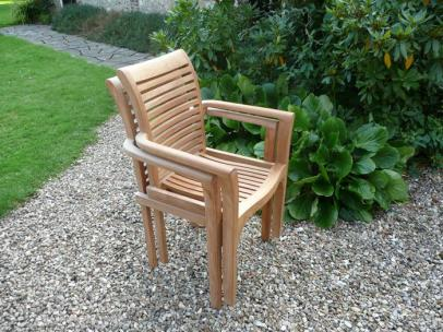 Two Solid Teak Stacking Garden Chairs