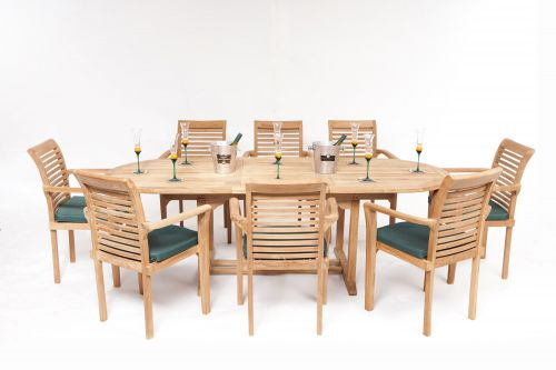 Monte Carlo 8 Seater Teak Garden Furniture Set