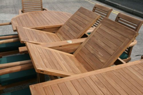Monaco teak garden furniture set humber imports uk for 12 seater outdoor table and chairs