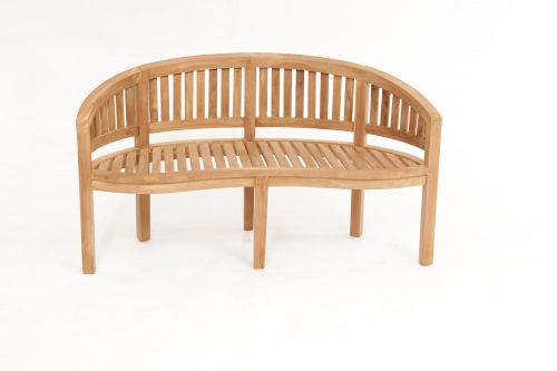 Teak Banana Bench Flat Back Rail