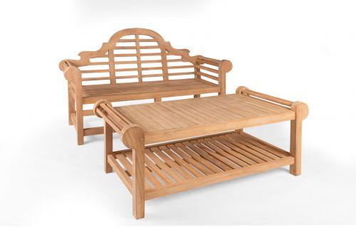 Lutyens 3 Seater Teak Bench & Coffee Table