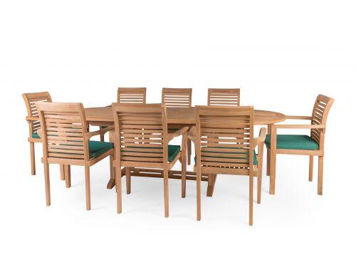 Carcassonne Double Extension 8 Seater Teak Garden Furniture Set