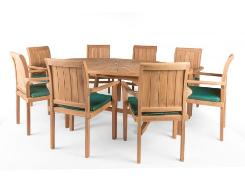 Sunburst 8 Seater Teak Garden Furniture Set