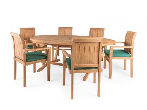 Sunburst 6 Seater Teak Garden Furniture Set