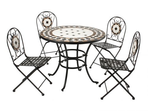 Roma Mosaic & Steel 5 Piece Patio Set