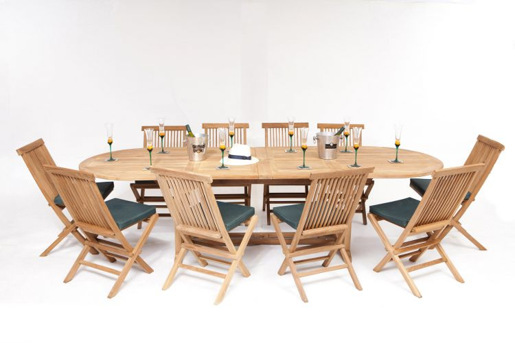 Monaco Teak Garden 10 Seater Table & Chairs Set