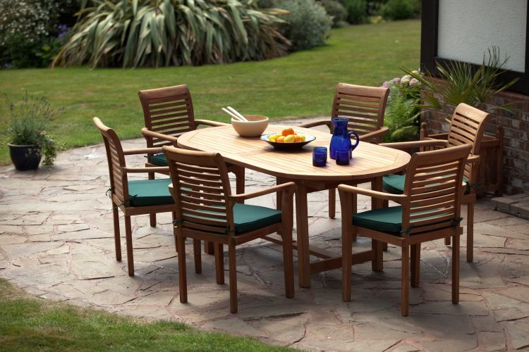 syracruse teak dining and garden set humber imports - Garden Furniture 6 Seater