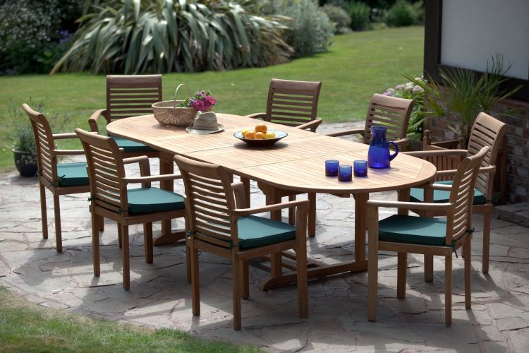 deauville 8 seater teak garden furniture set - Garden Furniture 8 Seater