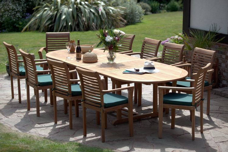 Antibes 10 Seater Teak Garden Furniture Set Stackable Chairs Table Extends