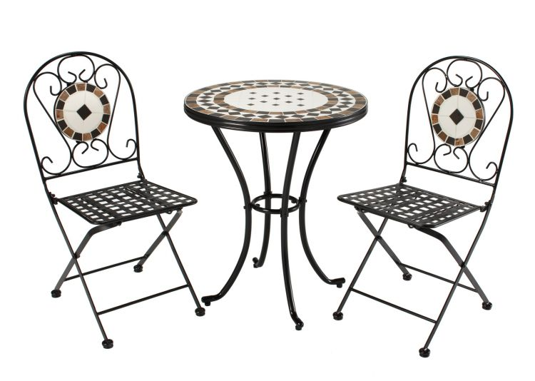 Rimini Mosaic & Steel 3 Piece Patio Set