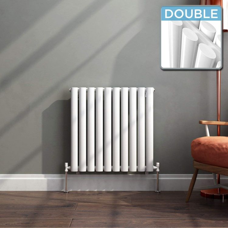 Modern Designer Oval Column Radiator 600 x 588 Double Column